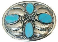 Vtg Handmade Turquoise Stone Inlay Belt buckle Native American Silver Feather