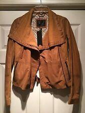$560 NWT Bod & Christensen REBECCA Lamb Leather Moto Tan Jacket XS fashion camel