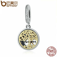 Bamoer S925 Sterling Silver Charm Pendant Family Gold Tree With CZ Fit Bracelets