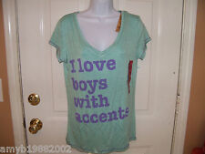 L.O.L. Vintage I Love Boys With Accents T-shirt Size L Women's  NEW LAST ONE