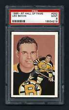 PSA 9 LEO BOIVIN 1985 Hall of Fame Hockey Card #252 High Number Extension