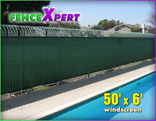 Green Privacy Fence Windscreen 50' x 6' Mesh Fabric w/ Fence Slat Screen Cover
