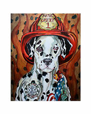 LEX outsider pop SuRReal TATTOOED Fire Department DALMATIAN DOG animal PRINT nr