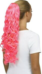 Fun World Unicorn Curly Pink Pigtail Costume Wig Pig Tail Ponytail Curls