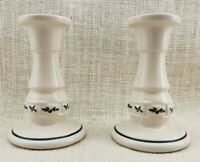 "Two (2) Longaberger Pottery 5"" Traditional Holly Candlesticks"