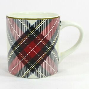 Williams-Sonoma TARTAN PLAID 12oz Mug Red Black Diagonal Gold Rim Christmas Mint