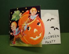 Pixies Halloween Party Invitation Card Black Cat Pumpkin Jack O Lantern Bats
