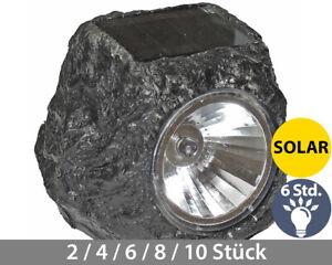 Solar Gartenleuchte in Steinform als Bodenleuchte Bodenstrahler wie Granit