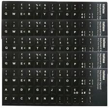 5 x Adesivi Neri Etichette Lettere per Tastiera Italiana Stickers Black Keyboard