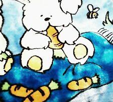"Blanket, Soft & Fluffy, 2 Cute White Bunnies On Blue Fleece, 42 X 56"" Vgc"