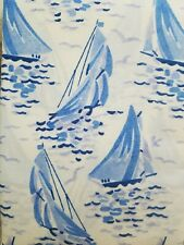 REGATTA vintage Laura Ashley beach cottage nautical sailboats shower curtain NEW
