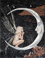 "52"" Handmade Marble Mosaic Moon Fairy Decorative Art Tile Stone Decor"