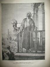 JOURNAL DES VOYAGES  N° 267 EGYPTE ALEXANDRIE MUSULMAN MUEZZIN LA PRIERE 1882