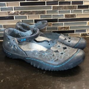 J-41 adventure Mary Jane turquoise gray sandals