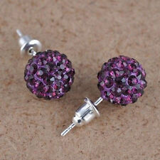 10 mm Austria Crystal Shiny Pave Disco Clay Ball Beads Ear Stud Earrings