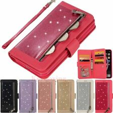 For iPhone XS XR 6s 7 8 Plus Bling Glitter Leather Case Card Holder Wallet Cover