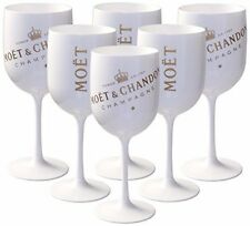 MC Moet Chandon Ice Imperial White Acrylic Champagne Glass Goblet Set x 6 New!