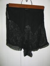 Antique 1940s French Black Silk Tap Shorts Pants Undies Panties w/ Lace Panels
