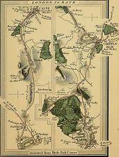 Londres Para Baño 1817 Mapa Carreteras Calne Chippenham Edward Mogg, volver a imprimir 10x8 pulgadas