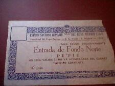 entrada 1958  III copa europa CHAMPIONS REAL MADRID S.C. VASAS TICKET ORIGINAL