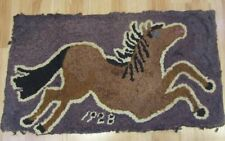 PA Amish Mennonite Dated 1928 HORSE Hook Vintage Rug FARMHOUSE Lancaster County