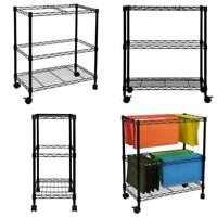Rolling File Cart 1 Tier Hanging File Folder Black Metal Storage Office Organize