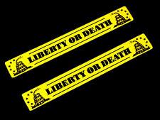 2 LIBERTY OR DEATH GADSDEN FLAG YELLOW MINUTE MEN ALUMINUM EMBLEMS BADGES PAIR
