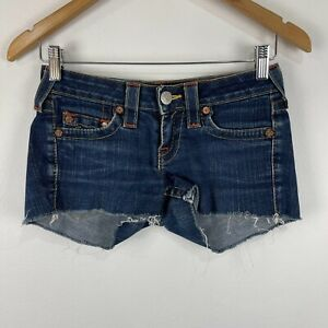 True Religion Womens Shorts 25 Blue Denim Zip Closure Hot Pants Frayed