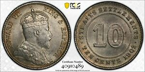 PCGS MS-62 STRAITS SETTLEMENTS SILVER 10 CENTS 1902