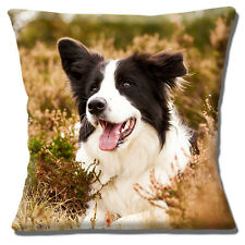 Border Collie Dog Cushion Cover 16x16 inch 40cm Outdoors in Heather Photo Print