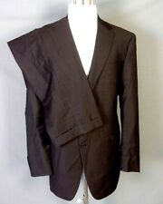 euc Hart Schaffner Marx RECENT Gold Trumpeter Gray Brown 2 Pc Business Suit 44 L
