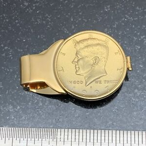 Coin Money Clip - Kennedy Half With Gold Plating - Reversible