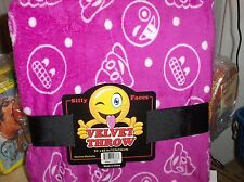 Smiley-Silly Face,Emojis`Pink-Warm Velvet Throw Blanket`50 x 60->New->Free To US