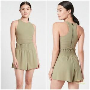 ATHLETA Cosmic Flutter Romper S SMALL Olive   Work Travel Shorts 1-piece NEW NWT