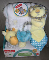 Fisher Price Cuddle N Play Set Security Blanket Rattle Zoo Lion Elephant Giraffe