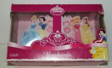 Disney Princess Pair of Pink Wood Bookends Cinderella, Snow White, Aurora, Belle