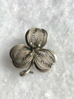 1950s Vintage Clover Brooch Silver Plated Retro Jewellery Jewelry Filigree Pin
