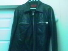 HUGO BOSS LAMB LEATHER BIKE STYLE JACKET LARGE 42R EAGLE EMBOSSED GOLDEN STAR