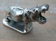 Fabulous Sterling Silver Miniature Study of A Yawning Hippo / Hippopotamus