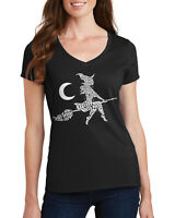 Witch On Broom Typography Women's V-Neck T-Shirt Halloween