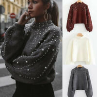 Women's Autumn Long Sleeve Sweater Blouse Knitted Pearl Jumper Pullover Top 03