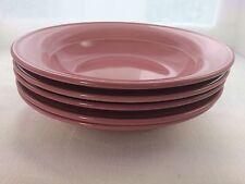 Vintage Dark Rose Nancy Calhoun Discontinued Set Of 5 Rim Soup Bowls