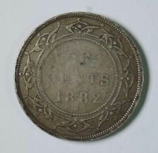 1882 H Newfoundland Canada Canadian Victoria 50 Fifty Cents Silver Coin