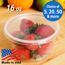 16 oz Round Deli Food/Soup Storage Containers w/ Lids Microwavable Clear Plastic