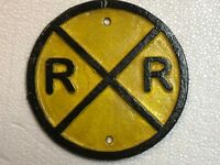 "Vintage Style Cast Iron 6"" Yellow Railroad Crossing Train Track Sign Round"