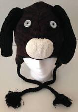 Winter Sweater Knit Animal Hat Brown Puppy Dog Fleece Lined Child/Tween Size