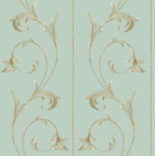 """Robins Egg Blue 10"""" Wide Panels With Golden Scroll Wallpaper YV8981"""
