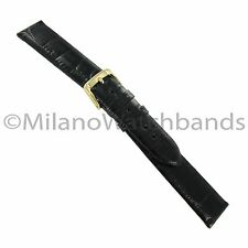 19mm Speidel High Quality Glossy Black Genuine Alligator Unstitched Watch Band