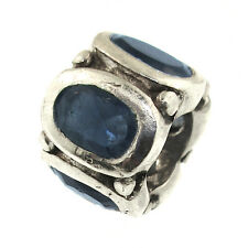 PGDA Blue Oval Crystals Charm Sterling September Birthstone Bead Sapphire MS 925