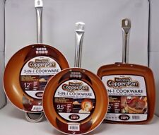 """Nonstick Copper Frying Pan & Cookware Set Ceramic 3 pc Induction Skillet 12"""" -9"""""""